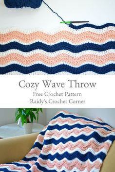 This pattern shows how to crochet a wave chevron blanket. Double crochet stitches in the back loops only allow for a subtle texture. Crochet Afghans, Crochet Ripple Blanket, Bag Crochet, Crochet Quilt, Manta Crochet, Afghan Crochet Patterns, Knitting Patterns, Crochet Stitches, Simple Crochet Blanket