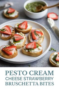 These PESTO CREAM CHEESE STRAWBERRY BRUSCHETTA BITES are a super easy fresh bold flavored appetizer recipe thats super easy to make and only have a few ingredients. A perfect appetizer or snack for those summer parties or family nights in! Easy Appetizer Recipes, Yummy Appetizers, Snack Recipes, Cookie Recipes, Side Dish Recipes, Wine Recipes, Vegetarian Snacks, Nutrition, Summer Parties