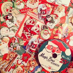 Vintage Gift wrap, hanging tags and seals Vintage Christmas Wrapping Paper, Joy To The World, Hang Tags, Vintage Gifts, Seals, Create Your Own, Nostalgia, Santa, Gift Wrapping