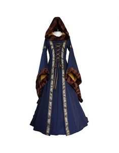 Women Medieval Oil Cloth Long Maxi Dresses Gowns Boho Peasant Wench Victorian Dress Vintage Long Sle