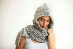 Tweed Gray Hood by Afra by afra on Etsy