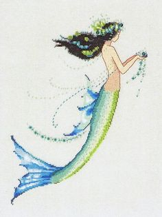 Mermaid Azure - Nora Corbett A pretty mermaid with flowers in her hair and a bright blue tail.