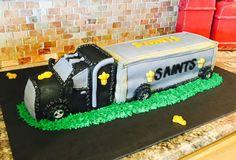 18 Wheeler Cake , trucks , boys , grooms cake , birthday , Saints Cake made by Cisha Ledet