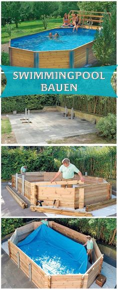 Ein Swimmingpool im eigenen Garten – ist das nicht ein absoluter Traum. Mit ei… A swimming pool in your own garden – is not that an absolute dream. With a kit you can also meet this. We show you how to build a wooden pool kit. Piscina Diy, Piscina Pallet, Diy Swimming Pool, Diy Pool, Above Ground Pool, In Ground Pools, Backyard Projects, Outdoor Projects, Wood Projects