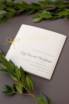 Square wedding program with yellow string bow for a formal spring wedding :: Dejlige Creative – Richmond, Virginia