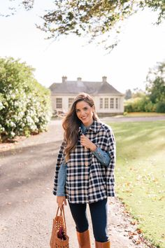 Gal Meets Glam You Will Fall In Love With This Cape I Wore In Scotland - Draper James cape, shirt & jeans c/o, Max Mara scarf & Frye boots