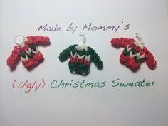 rainbow loom christmas | Ugly Christmas Sweater Charm on the Rainbow Loom - YouTube