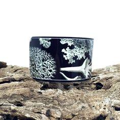 Bracelets for Women - Ernst Haeckel - Black Cuff Bracelet - Metal Bracelet - Botanical Jewellery - Black and White Jewelry - Sku R10-004