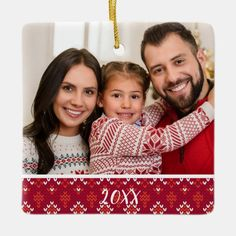 Custom 2-Sided Family Photo Nordic Christmas Ceramic Ornament - tap, personalize, buy right now! #CeramicOrnament #family #photo, #yearly, #traditional, #annual