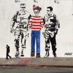 The NSA Found Waldo, street art, graffiti art, political art Murals Street Art, Street Art Banksy, Banksy Art, Bansky, Mural Art, Street Art Love, Amazing Street Art, Urbane Kunst, Political Art