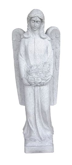This is a beautifully carved Angel with Flowers Statue. Comes in five sizes: 2′, 3′, 4′, 5′, and 6′. Standard material is Gray Granite