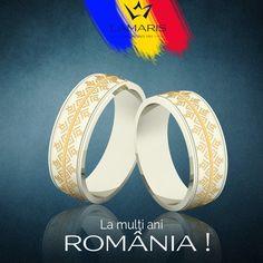 Verighete din aur alb cu motive traditionale. La multi ani Romania! Aur, Weeding, Wedding Rings, Engagement Rings, Jewelry, Fashion, Diamond, Enagement Rings, Moda