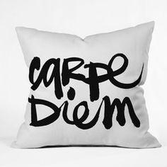 Carpe Diem Pillow by Kal Barteski