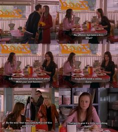 Gilmore Girls - Jess and Rory being judged for their kiss at Thanksgiving
