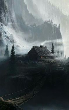 Sharing my obsessive love of rustic cabin life through photos and art I have collected. Please feel free to share - most of the photos. Fantasy Concept Art, Fantasy Artwork, Dark Fantasy, Fantasy Art Landscapes, Landscape Art, Beautiful Landscapes, Fantasy Places, Fantasy World, Illustration Landscape
