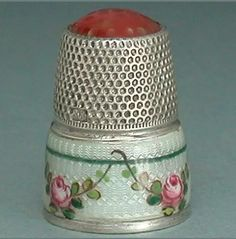 Antique Enameled Roses Stone Top, Sterling Silver Thimble. C. 1900.
