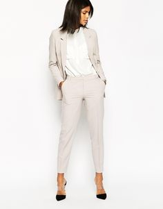 Image 1 of ASOS Ankle Grazer Cigarette Pants in Crepe