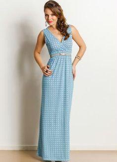 Vestido Longo Estampa Azulejo - Posthaus
