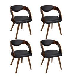 Vidaxl Lot de 4 chaises à accoudoirs Salle manger en cuir mélangé brun marron
