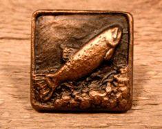 Rustic lodge FISH 1 1/2 inch cabinet knob F112S  - Hand poured in Montana,  cabin, loghome hardware