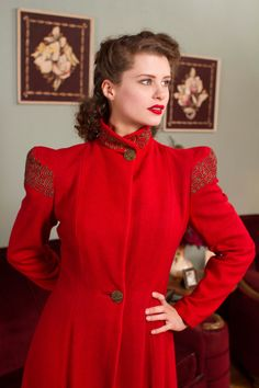 Vintage 1940s Coat Phenomenal Coral Red Hollywood Coat by FabGabs