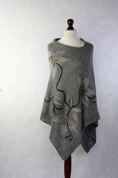 Gray  poncho women poncho knit poncho knit by KnitwearFactory, $125.00