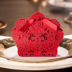 100 Pcs Red Basket Shape Wedding Favor Boxes: Laser Cut Flower-- Ship Worldwide 3-5 Days by WishmadeCards on Etsy