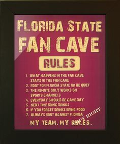 FLORIDA STATE SEMINOLES, FAN CAVE SIGN