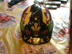 Old Hand Painted Wales Miners Hard Hat Ich Dien Red Dragon - Old Hand Painted Wales Miners Hard Ha.