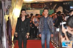 Actors Huang Xiaoming, Tong Dawei and Yang Mi on the red carpet at the premiere of 'You Are My Sunshine' in Beijing, China http://www.chinaentertainmentnews.com/2015/04/huang-xiaoming-tong-dawei-yang-mi-on.html