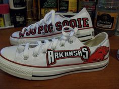 Leslie Go Hogs Converse. Hand painted sports team shoes. Any team can be done. Available @etsy.com/shop/artsy283 for $115