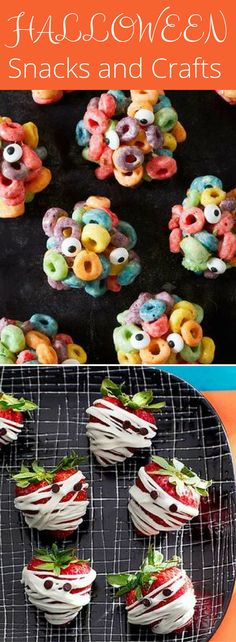 11 Halloween Snacks and Crafts Perfect for a Class Party - Celebrating Halloween at school? These ideas are perfect for a creepy-cool party in your child's classroom. snacks for school party 11 Easy Halloween Treats for School Halloween Party Snacks, Halloween Donuts, Halloween Desserts, Halloween Cocktails, Hallowen Food, Postres Halloween, Halloween Breakfast, Halloween Treats For Kids, Snacks Für Party