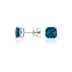 London Blue Topaz Cushion Earrings in Sterling Silver (8mm) (perfect for a 2nd anniversary trip to London!)