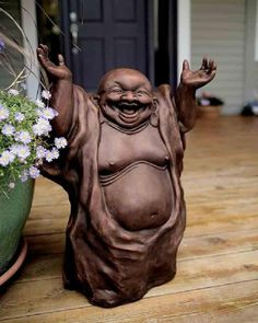Decor/Accessories - Laughing Buddha - Acacia - buddha. For the middle of the produce garden bed - a fat belly  buddha