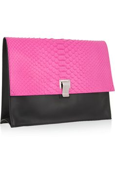 Proenza Schouler|Lunch Bag neon python and leather clutch|NET-A-PORTER.COM