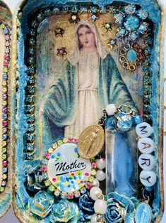 Altered Tins, Altered Art, Custom Gift Boxes, Customized Gifts, Christmas Shadow Boxes, Catholic Crafts, Collages, Blessed Mother, Vintage Crafts