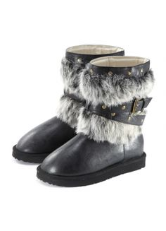 Faux-Fur Shaft Studded Snow Boots Black