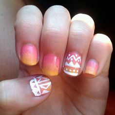 Ombre, tribal nails