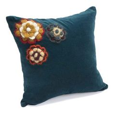 Blue with Flowers Decorative Pillow