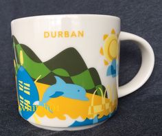 Starbucks Durban YAH Mug Zulu South Africa Dolphin Ship Rugby You Are Here Cup #Starbucks