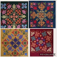 Did these for cushion covers Hand Embroidery Videos, Hand Work Embroidery, Embroidery Saree, Embroidery Needles, Embroidery Techniques, Ribbon Embroidery, Border Embroidery Designs, Embroidery Patterns, Kutch Work Designs