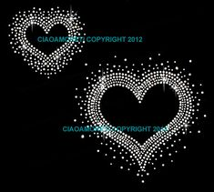 2 hearts clear rhinestone iron on hotfix transfer  by loveforbling, 3.99$