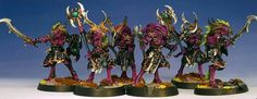 A poorly composed shot of all six painted.