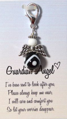 Guardian Angel Black and White Keychain Charm by sweetvioletlane, $8.00
