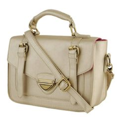 Forever 21 faux leather messenger  in metallic gold