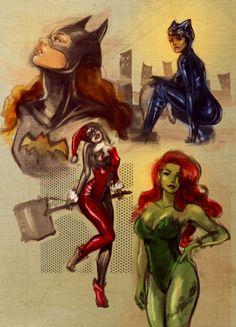 Batgirl, Catwoman, Harley Quinn and Poison Ivy. Batman has the best female superheros/villians! Comic Book Characters, Comic Character, Comic Books Art, Comic Art, Harley Quinn, Joker And Harley, Gotham City, Catwoman, Dc Batgirl