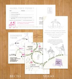 Faire-part mariage  Wedding invitation  Illustrations / puzzle / voyage / travel     Raya AbiAad - graphic design - graphiste - Paris - français, anglais, arabe -french,...