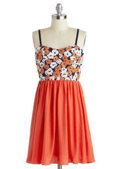 Graceful Gardener Dress, #ModCloth. Orange is hot this year.