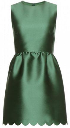 RED VALENTINO - Emerald Satin Mini Dress - Designer Dress hire