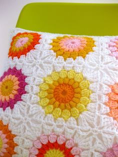 Beautiful granny square pillow!